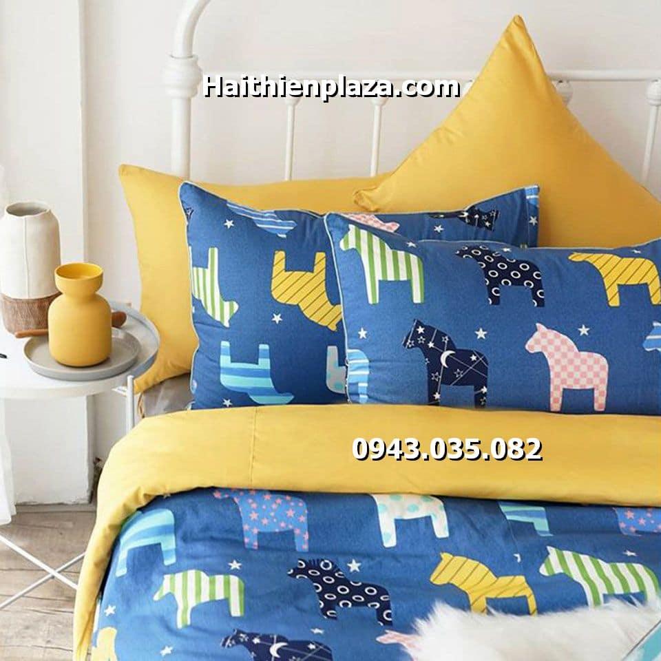 Chăn ga gối hình con ngựa cotton hàn