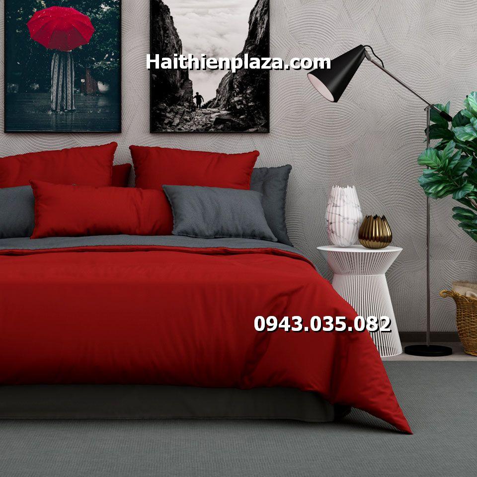 Chăn ga phối mầu đỏ ghi