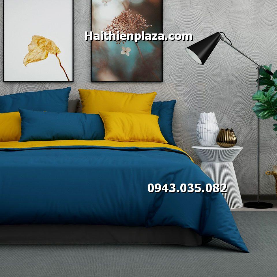 Chăn ga phối mầu vàng xanh Cotton hàn