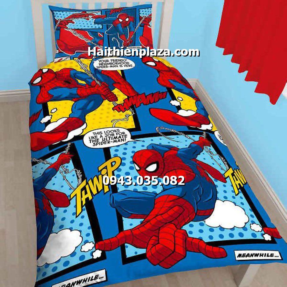 Chăn ga gối đệm hình người nhện Spiderman